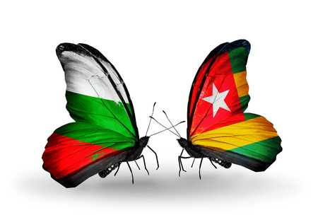 Two butterflies with flags on wings as symbol of relations Bulgaria and Togo photo