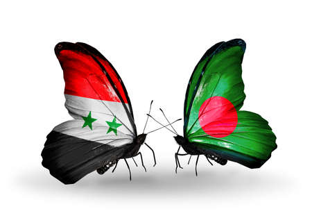 Two butterflies with flags on wings as symbol of relations Syria and Bangladesh photo