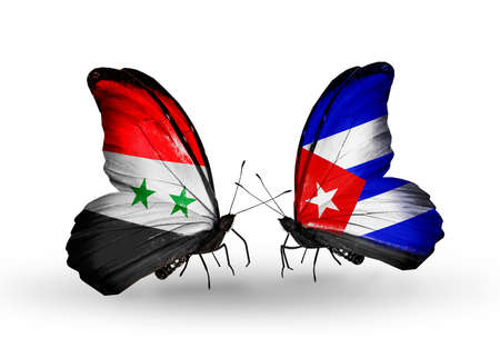Two butterflies with flags on wings as symbol of relations Syria and Cuba Stock Photo