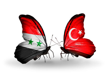 Two butterflies with flags on wings as symbol of relations Syria and Turkey photo