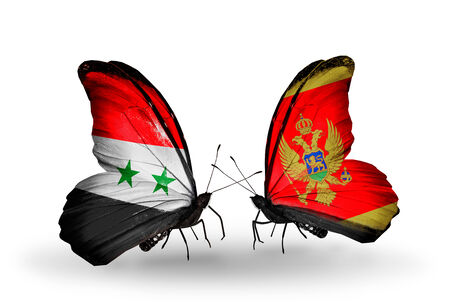 Two butterflies with flags on wings as symbol of relations Syria and Montenegro photo