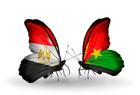 Puzzle With The National Flag Of Burkina Faso And Egypt Concept