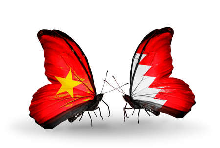 bahrain money: Two butterflies with flags on wings as symbol of relations Vietnam and Bahrain