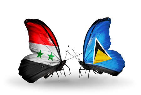 Two butterflies with flags on wings as symbol of relations Syria and Saint Lucia photo