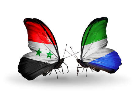 Two butterflies with flags on wings as symbol of relations Syria and Sierra Leone photo