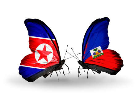 Two butterflies with flags on wings as symbol of relations North Korea and Haiti photo