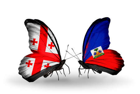 Two butterflies with flags on wings as symbol of relations Georgia and Haiti photo