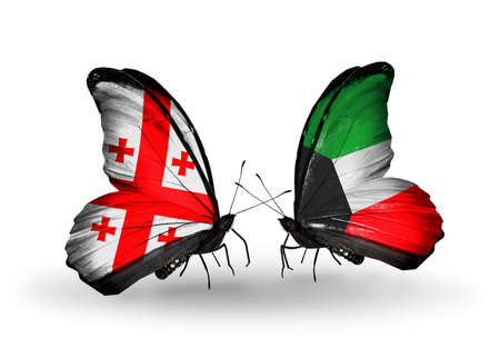Two butterflies with flags on wings as symbol of relations Georgia and Kuwait photo