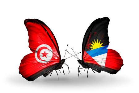 Two butterflies with flags on wings as symbol of relations Tunisia and Antigua and Barbuda photo