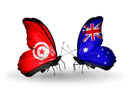 Two butterflies with flags on wings as symbol of relations Tunisia and Australia photo