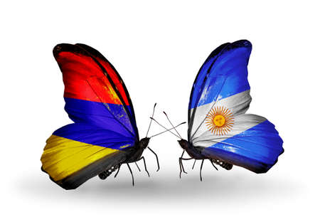 Two butterflies with flags on wings as symbol of relations Armenia and Argentina photo