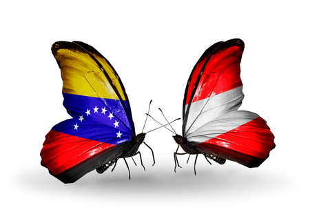 Two butterflies with flags on wings as symbol of relations Venezuela and  Austria photo