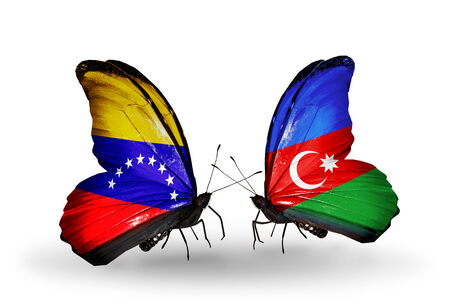 Two butterflies with flags on wings as symbol of relations Venezuela and  Azerbaijan photo