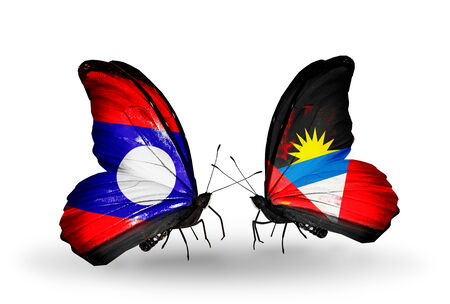 antigua flag: Two butterflies with flags on wings as symbol of relations Laos and Antigua and Barbuda