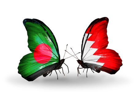 bahrain money: Two butterflies with flags on wings as symbol of relations Bangladesh and Bahrain