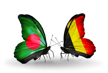 Two butterflies with flags on wings as symbol of relations Bangladesh and Belgium photo