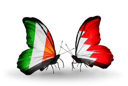 bahrain money: Two butterflies with flags on wings as symbol of relations Ireland and Bahrain Stock Photo