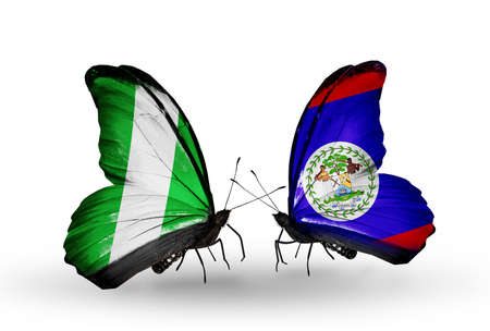 Two butterflies with flags on wings as symbol of relations Nigeria and Belize photo