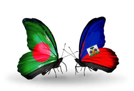 Two butterflies with flags on wings as symbol of relations Bangladesh and Haiti photo
