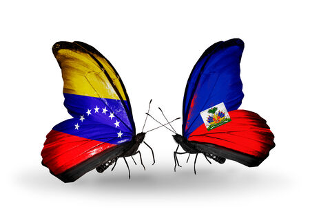 Two butterflies with flags on wings as symbol of relations Venezuela and  Haiti photo