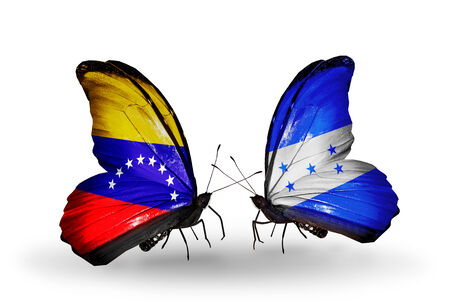 Two butterflies with flags on wings as symbol of relations Venezuela and  Honduras photo