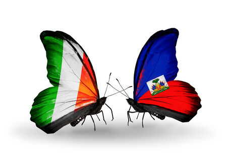Two butterflies with flags on wings as symbol of relations Ireland and Haiti photo