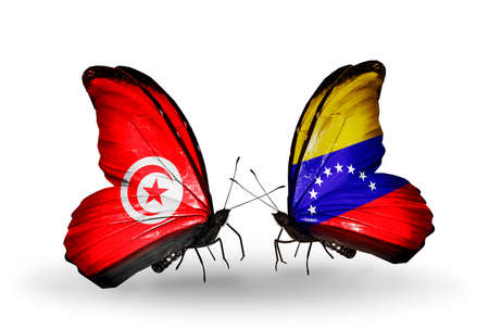 Two butterflies with flags on wings as symbol of relations Tunisia and Venezuela photo