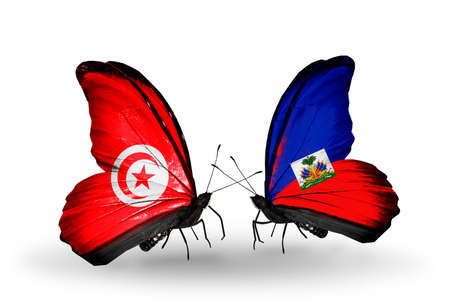 Two butterflies with flags on wings as symbol of relations Tunisia and Haiti photo