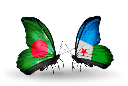 Two butterflies with flags on wings as symbol of relations Bangladesh and Djibouti photo