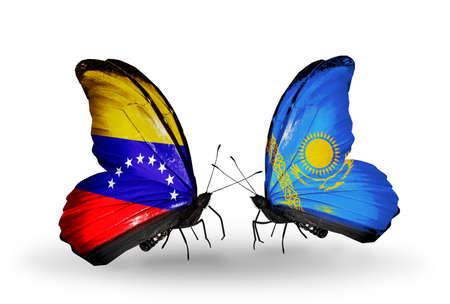 Two butterflies with flags on wings as symbol of relations Venezuela and  Kazakhstan photo