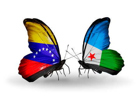 Two butterflies with flags on wings as symbol of relations Venezuela and  Djibouti photo
