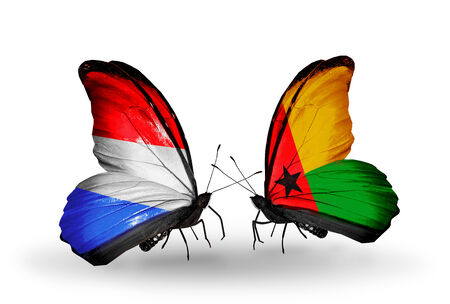 guinea bissau: Two butterflies with flags on wings as symbol of relations Luxembourg and Guinea Bissau