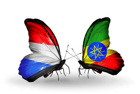 Two butterflies with flags on wings as symbol of relations Luxembourg and Ethiopia photo