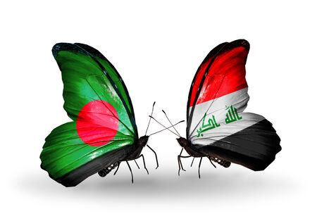 iraq money: Two butterflies with flags on wings as symbol of relations Bangladesh and Iraq Stock Photo