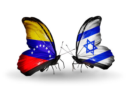 Two butterflies with flags on wings as symbol of relations Venezuela and Israel photo