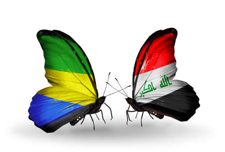 iraq money: Two butterflies with flags on wings as symbol of relations Gabon and Iraq Stock Photo