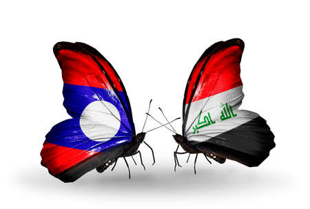 iraq money: Two butterflies with flags on wings as symbol of relations  Laos and Iraq