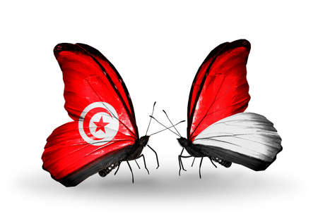 Two butterflies with flags on wings as symbol of relations Tunisia and Monaco, Indonesia photo