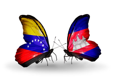 Two butterflies with flags on wings as symbol of relations Venezuela and  Cambodia photo