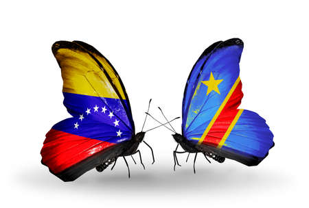 Two butterflies with flags on wings as symbol of relations Venezuela and Kongo photo