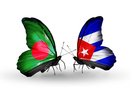 Two butterflies with flags on wings as symbol of relations Bangladesh and Cuba