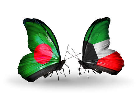 Two butterflies with flags on wings as symbol of relations Bangladesh and Kuwait photo