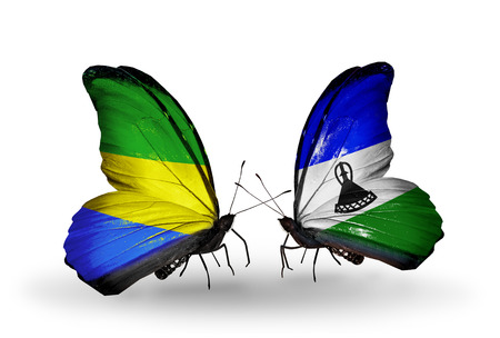 Two butterflies with flags on wings as symbol of relations Gabon and Lesotho photo