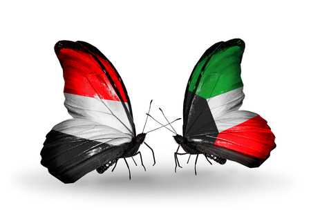 Two butterflies with flags on wings as symbol of relations   Yemen and  Kuwait photo