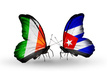 Two butterflies with flags on wings as symbol of relations Ireland and  Cuba