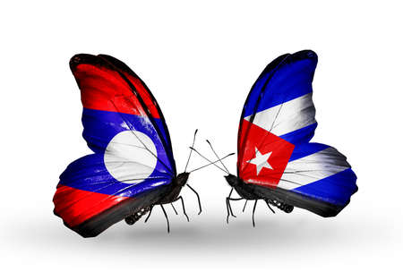 Two butterflies with flags on wings as symbol of relations Laos and Cuba