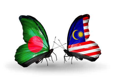 Two butterflies with flags on wings as symbol of relations Bangladesh and Malaysia photo