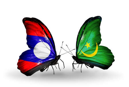 Two butterflies with flags on wings as symbol of relations Laos and Mauritania photo