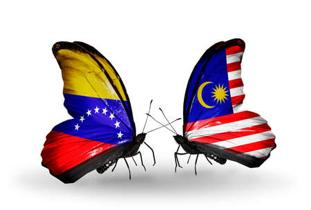 Two butterflies with flags on wings as symbol of relations Venezuela and Malaysia photo