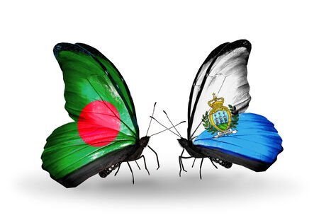 Two butterflies with flags on wings as symbol of relations Bangladesh and San Marino photo